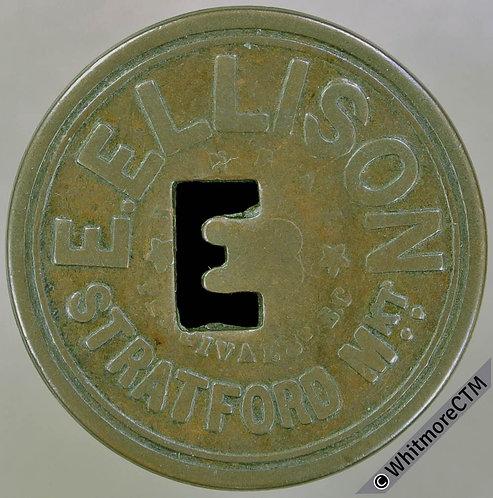 Market Token Stratford 28mm 10/- E.Ellison - Copper. E shaped piercing