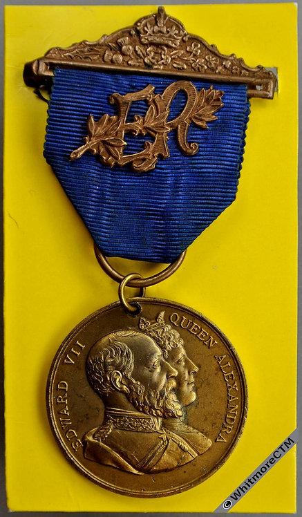 1902 Edward VII Coronation Medal 38mm B3849 Gilt white metal. with ribbon
