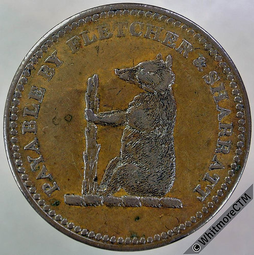19th Century Penny Walsall 1145 1811 Fletcher & Sharratt. Bear & Ragged staff