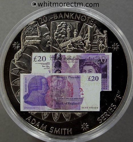 2007 British Banknote £20 Series F Medal 40mm Adam Smith - Cupro-nickel. capsule