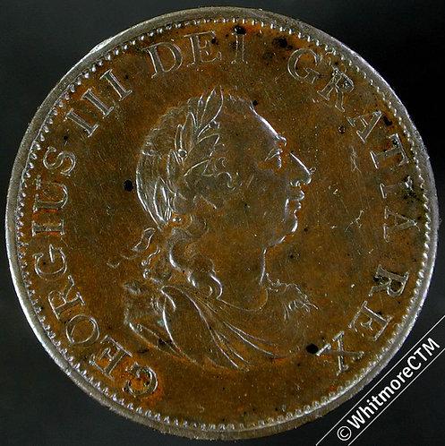 1799 Copper Halfpenny George III - 5 Incuse Gunports