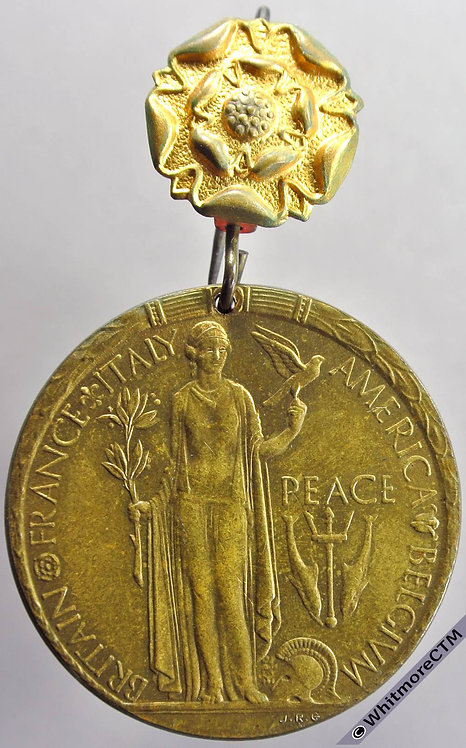 Glossop 1919 Peace Medal 35mm By J.Gaunt. Gilt brass. Pierced with rose pin