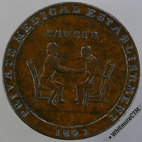 Unofficial Farthing Glasgow 7430 1841 Doctor & patient. Nursing mother