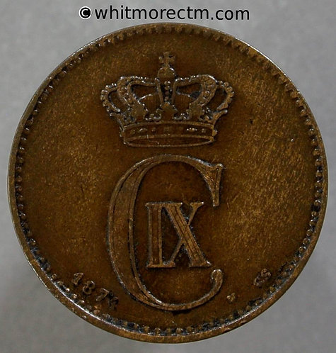 1874 Denmark 2 Ǿre coin