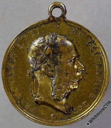 1890 Austria Vienna Forestry Exhibition Medal 20mm By J.Ch. Gilt bronze