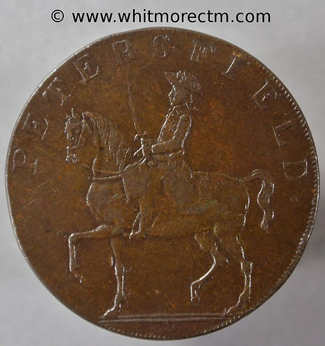 18th Century Halfpenny Petersfield 48c 1793 Horseman Stork - Plain edge