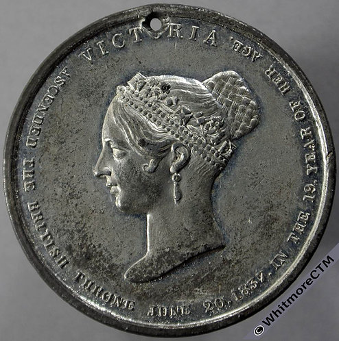 1838 Queen Victoria Coronation Medal obv 35mm BHM1842 White Metal. Pierced