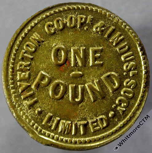 Tiverton Ind Co-Operative Society token. 21mm One Pound  Same both sides - Gilt