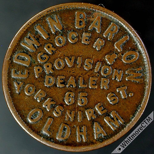 Unofficial Farthing Oldham 4122 Edwin Barlow. Grocer & Provision Dealer