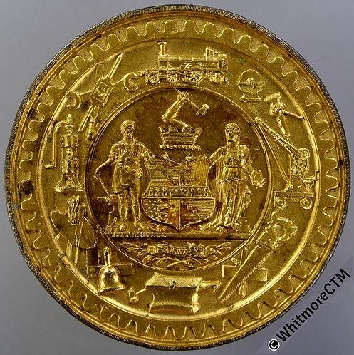 Birmingham Bingley Hall 1892 Trades Exhibition Medal 45mm By Restall Gilt Bronze