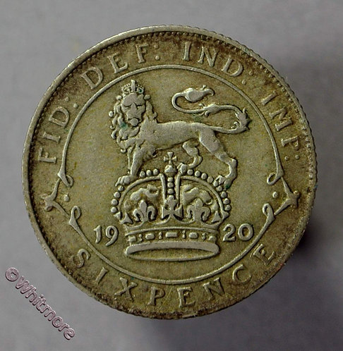 1920 British Sixpence George V D1873
