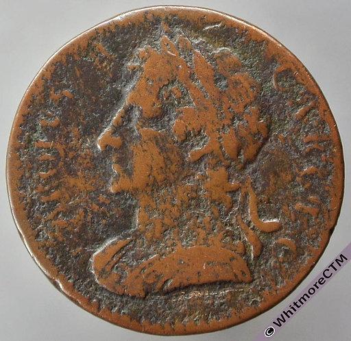 1675 British Copper Farthing - Charles II