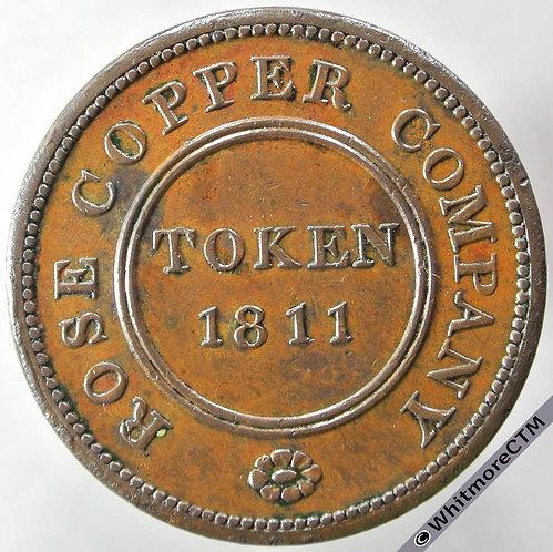 19th Century Penny Token Birmingham 244 1811 Birmingham & Swansea Rose Copper Co