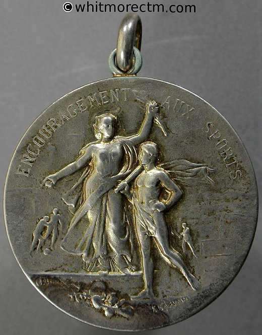 1916 France / England Encouragement aux sports Medal 36mm Cricket - Silver