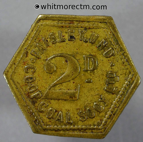 Co-Operative Society Token Paisley Und Coal Society 2D 20mm Hexagonal