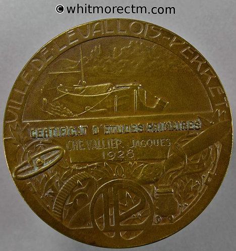 1928 France Levallois Perret (Paris) Certificat d'Etudes Primaires Medal 50mm