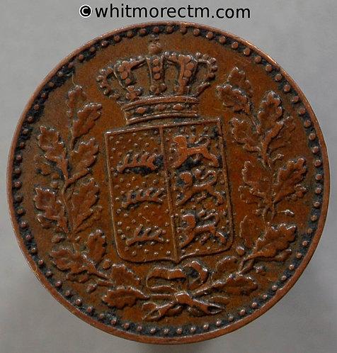1865 Germany Württemberg C294 ½ Kreuzer coin obv