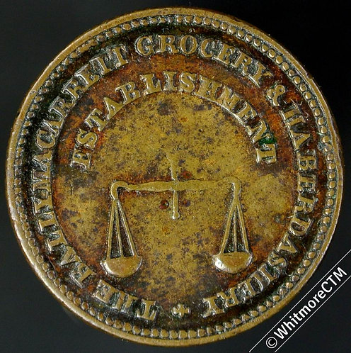 Unofficial Farthing Ballymacarrett 5340 James Jones Grocery Pair of scales. Rare