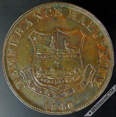 Value stated Token Cork 1840 Temperance Halfpenny 29mm Copper