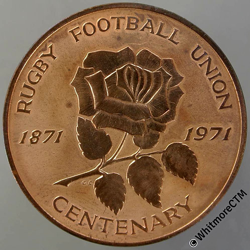1971 Centenary of Rugby Union Medal 39mm View of game in 1879