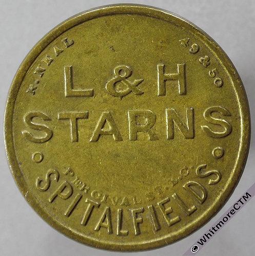 Market Token Spitalfields L&H Starns / 1s   31mm Reverse unsigned - Brass