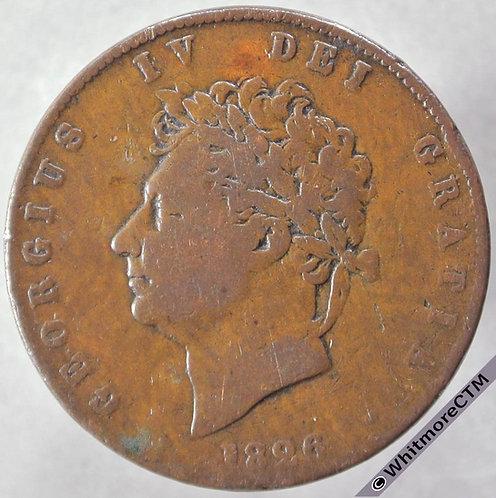 1826 British Copper Halfpenny George IV