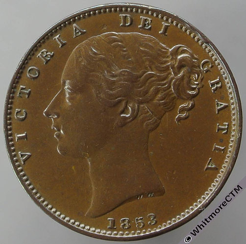 1853 British Copper Farthing Victoria Young Head - WW incuse