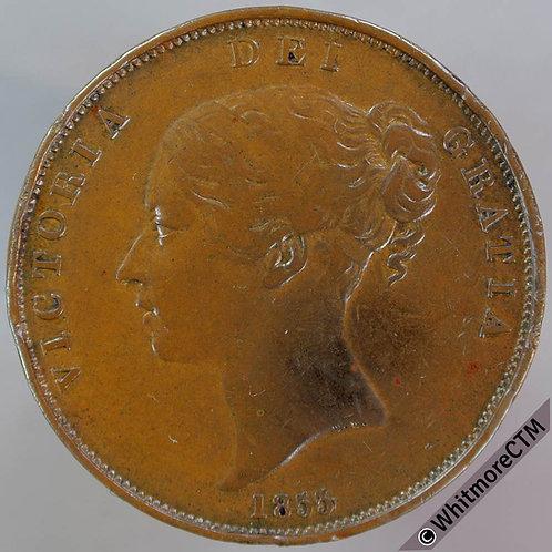 1855 Victoria Young Head Copper Penny PT near colon