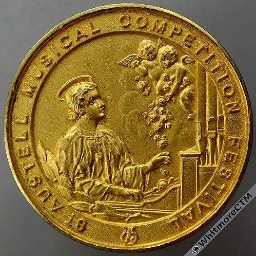St Austell Musical Competition Festival Medal 41mm St Cecilia at keyboard Gilt