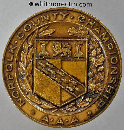 Norfolk Amateur Athletic Association County Championship Medal 38mm Bronze