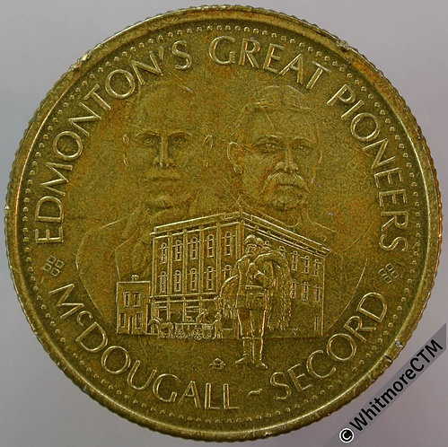 Canada Alberta Edmonton 33mm 1978 Dollar Commonwealth Games / Pioneers.  Brass