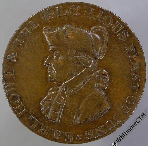 18th Century Half-penny token Emsworth 23 1795 Earl Howe. Stride's edge.