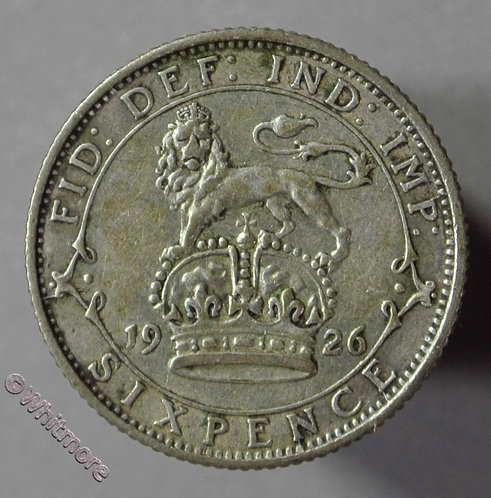 1926 British Sixpence George V D1881 First Obv