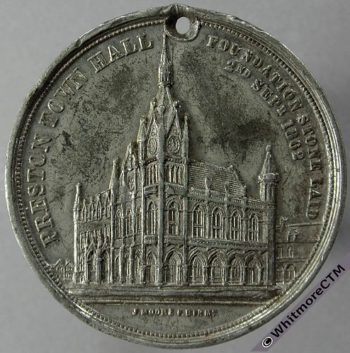 Preston Lancashire 1862 Medal 40mm View of town hall By J.Moore. White Metal