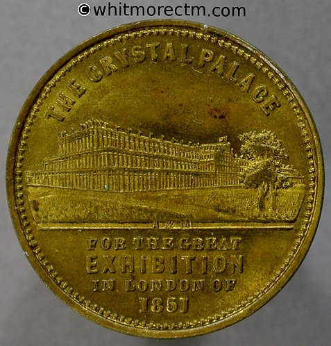 1851 Crystal Palace Dimensions Medal 22mm B2434 By Allen & Moore Gilt brass