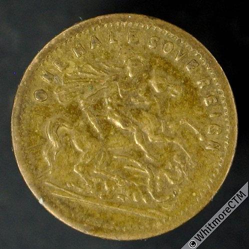 Toy Coin Bavarien Spielmarke 13mm 1897 Half Sovereign S over veil R631 Gilt