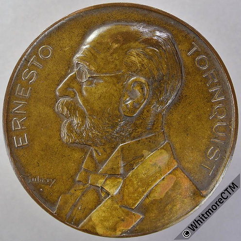 1923 Argentina 50th Anniversary of Ernesto Tornquist Medal 50mm Bronze, Cased