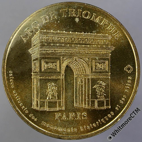 France Monnaie de Paris Medal 34mm Gilt brass - Arc De Triomphe - Gilt Bronze