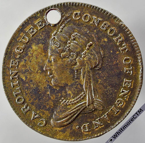1821 Caroline of Brunswick Queen Consort Coronation Medallion 25mm BHM399