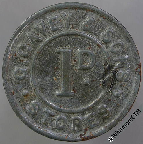 Value Stated Token 26mm G. Cavey & Sons Stores 1D. Bracteate iron