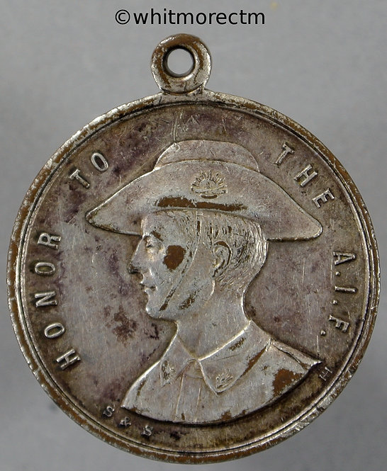 1918 Australia Anzac day Medal 27mm Silvered Bronze obv