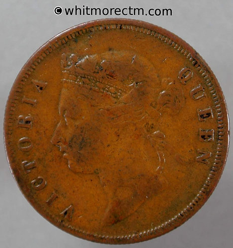 1889 Straits Settlements 1 Cent coin obv - Queen Victoria British Crown Colony
