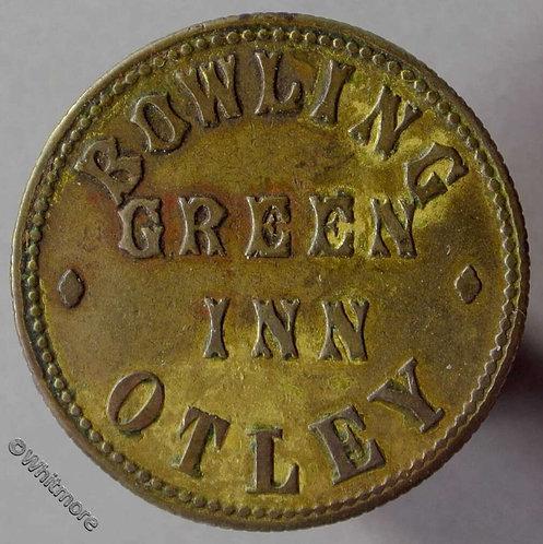 Otley Pub Token - Bowling Green Inn / 2D in wreath. Brass