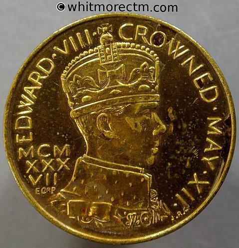1937 Coronation Medal 36mm Edward VIII By J.R.Gaunt. Gilt brass. Rare unpierced