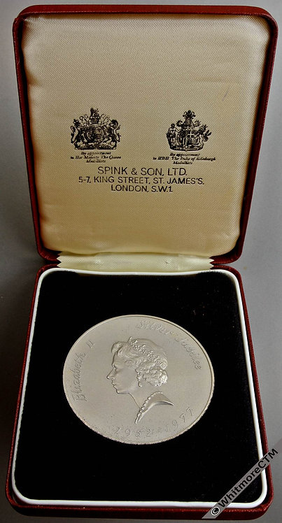 1977  Silver jubilee Medal 57mm E2136 by Durbin for Spink. Matte silver. Cased