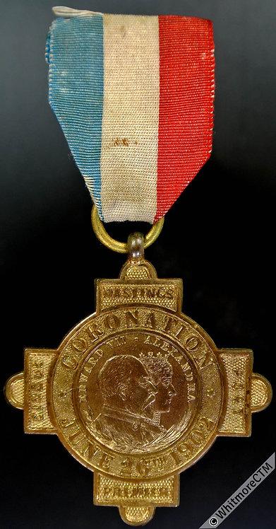 1902 Hastings Coronation Medal 34mm WE4622 gilt brass & ribbon