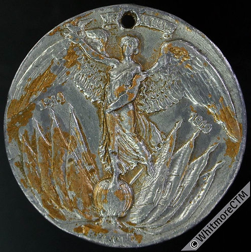 Sheffield 1919 Peace Medal 32mm White metal - Angel on globe