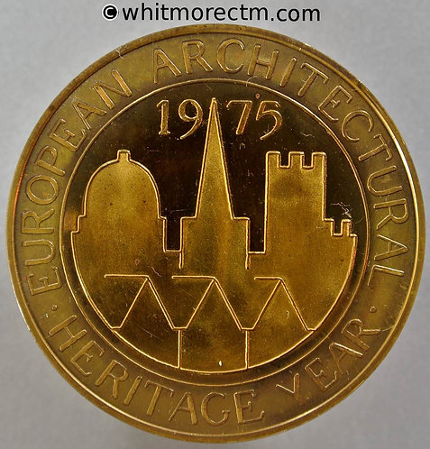 Stonehenge 1975 European Architectural Heritage Year Medal 44mm View of Henge