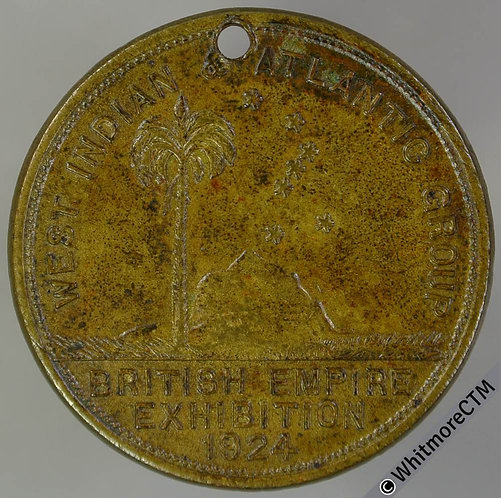 Bahamas 1924 British Empire Exhibition Medal 27mm Gilt bronze. Pierced