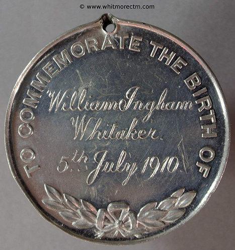 Lymington 1910 Pylewell Park - birth of William Ingham Whitaker medal 39mm